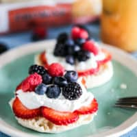 Lemon Curd and Cream Topped English Muffins with Fresh Berries