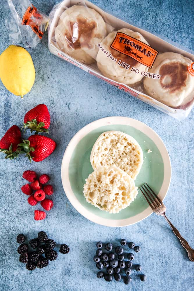 Toasted english muffins on plate