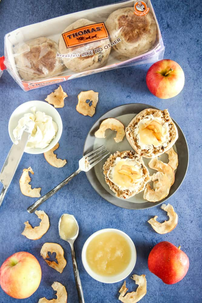 english muffins with apple slices on top