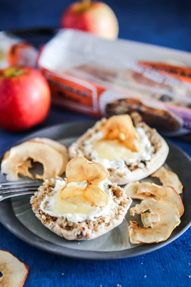 english muffins with cream cheese and apples