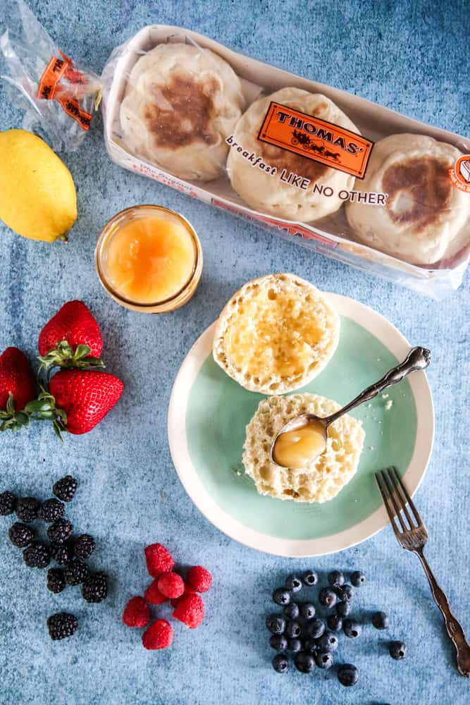 english muffins topped with lemon curd