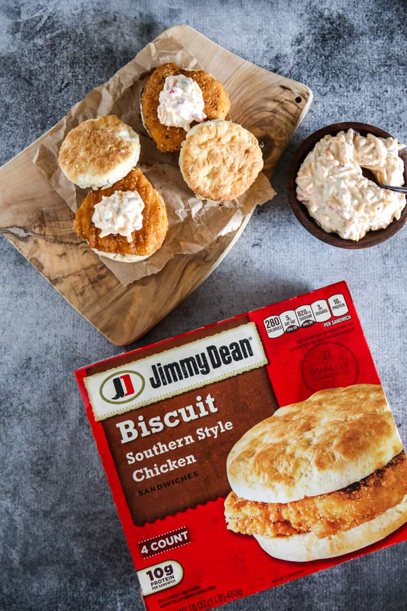 two jim dean biscuits with bowl of pimento cheese