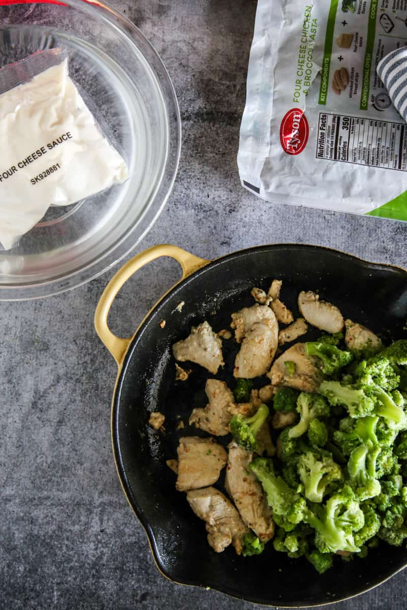 chicken and broccoli in pan