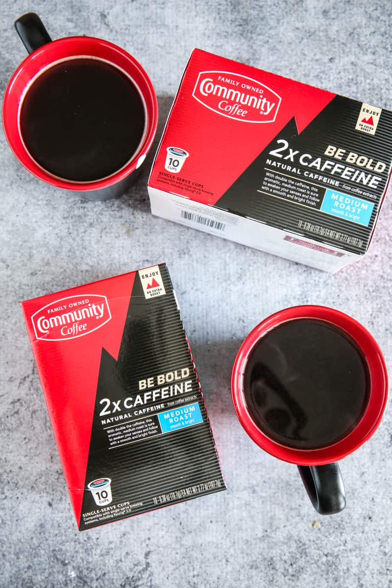 two boxes of extra caffein coffee and cups