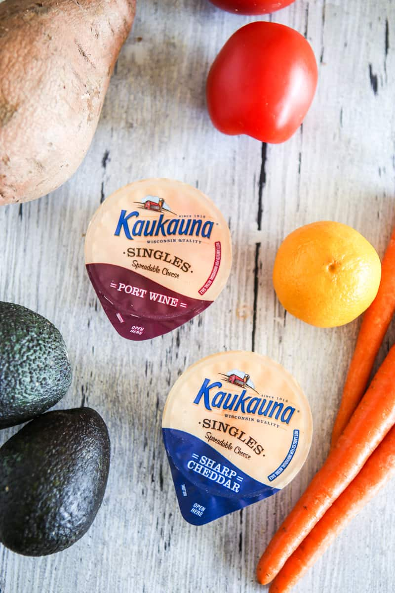 two kaukauna cheese singles with fruits