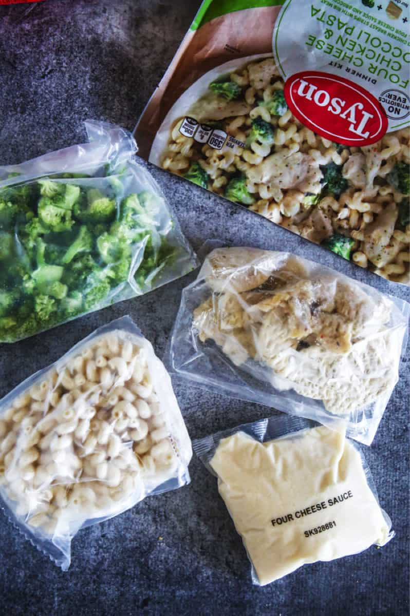 broccoli pasta chicken and four cheese sauce in packets