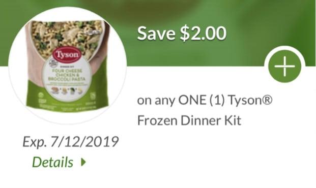 save 2 dollars on any tyson frozen dinner kit