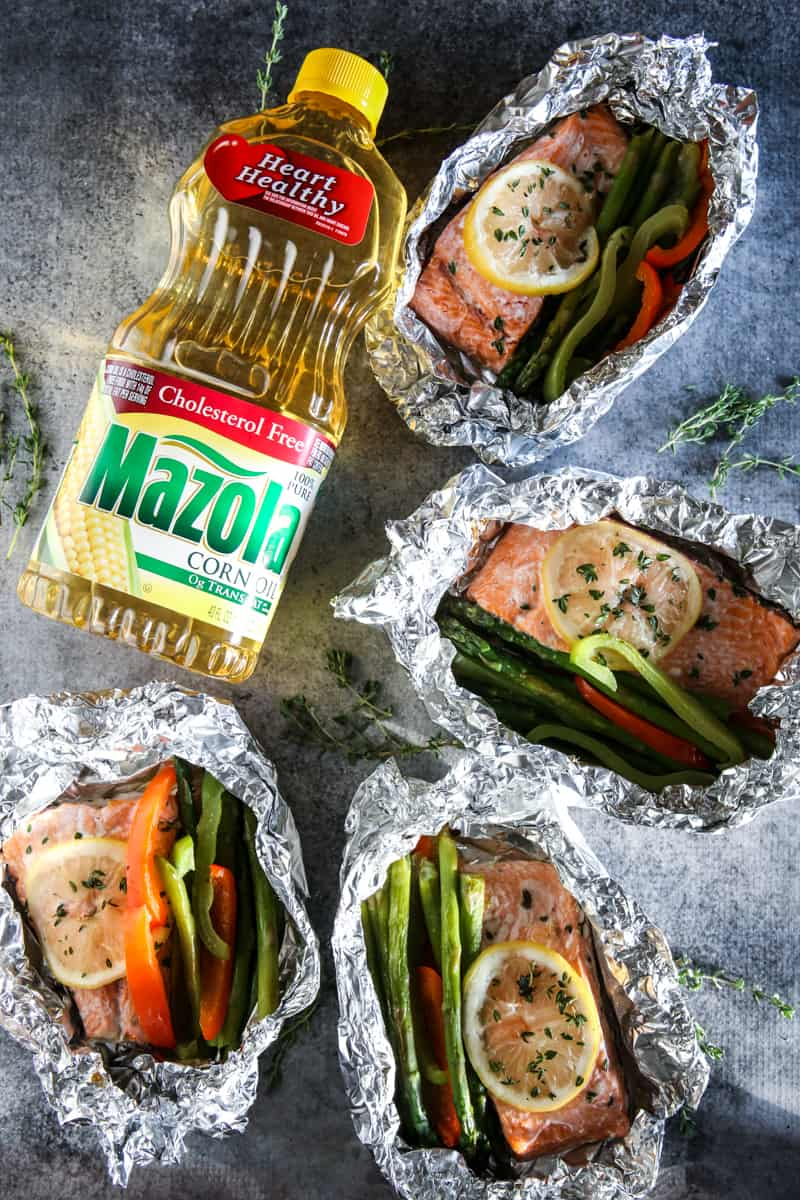 mazola corn oil and cooked salmon
