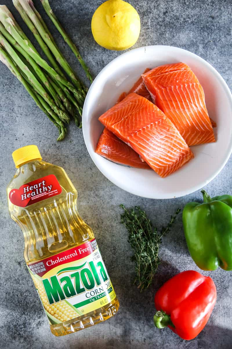 mazola corn oil and raw salmon