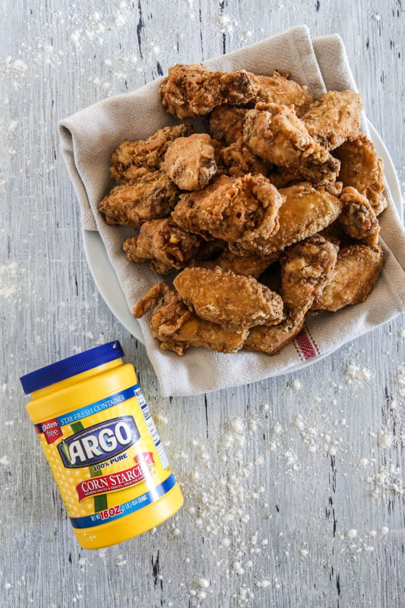 freshly fried chicken wings with argo corn starch