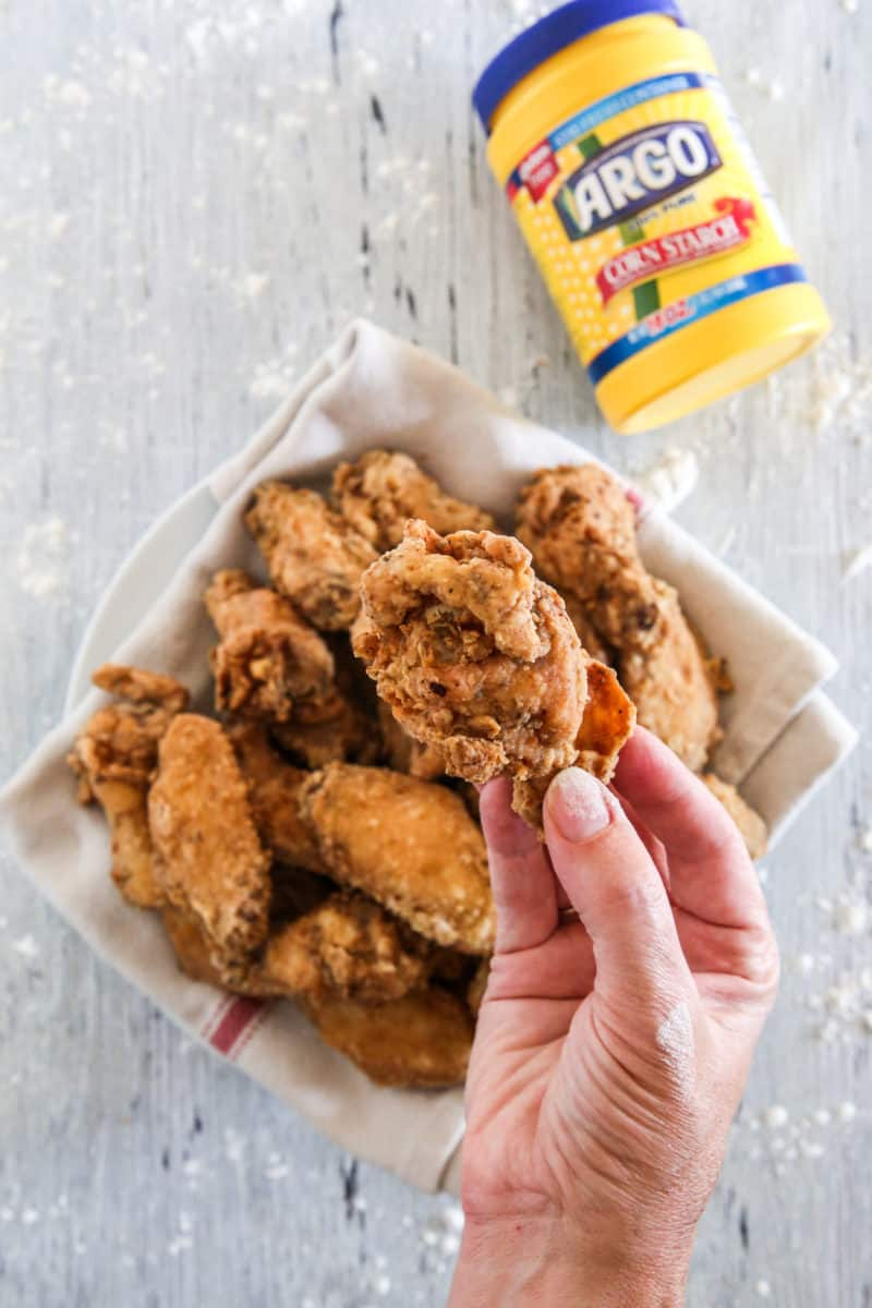 Crispiest Fried Chicken Wings close up with Argo corn starch