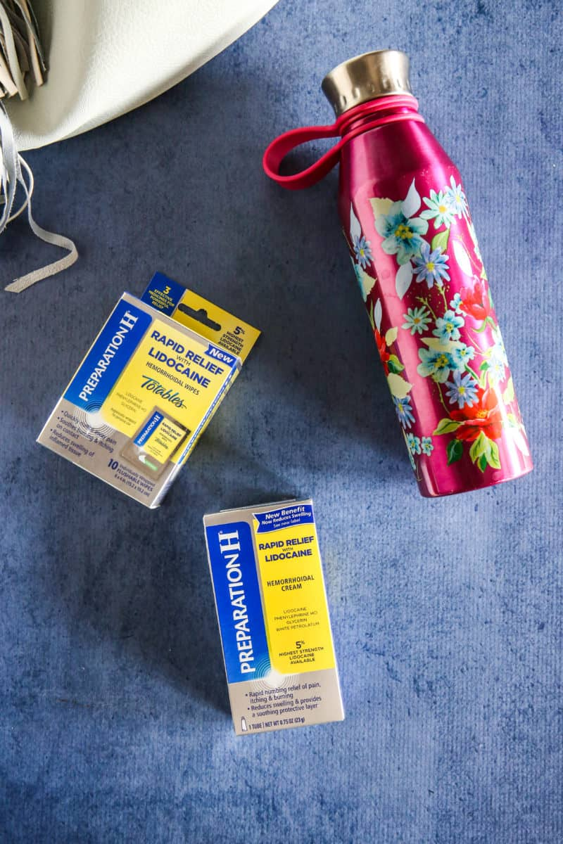 prep h wipes and water bottle