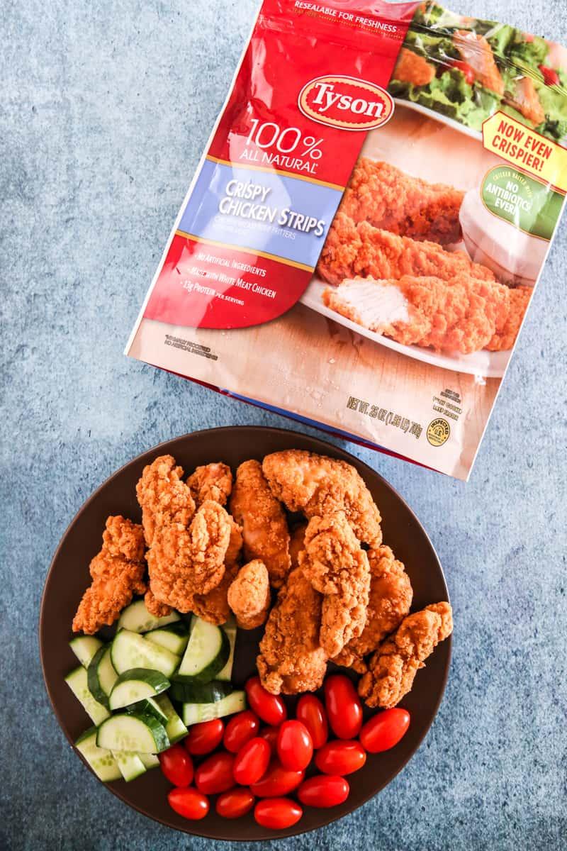 tyson chicken strips with chicken on plate