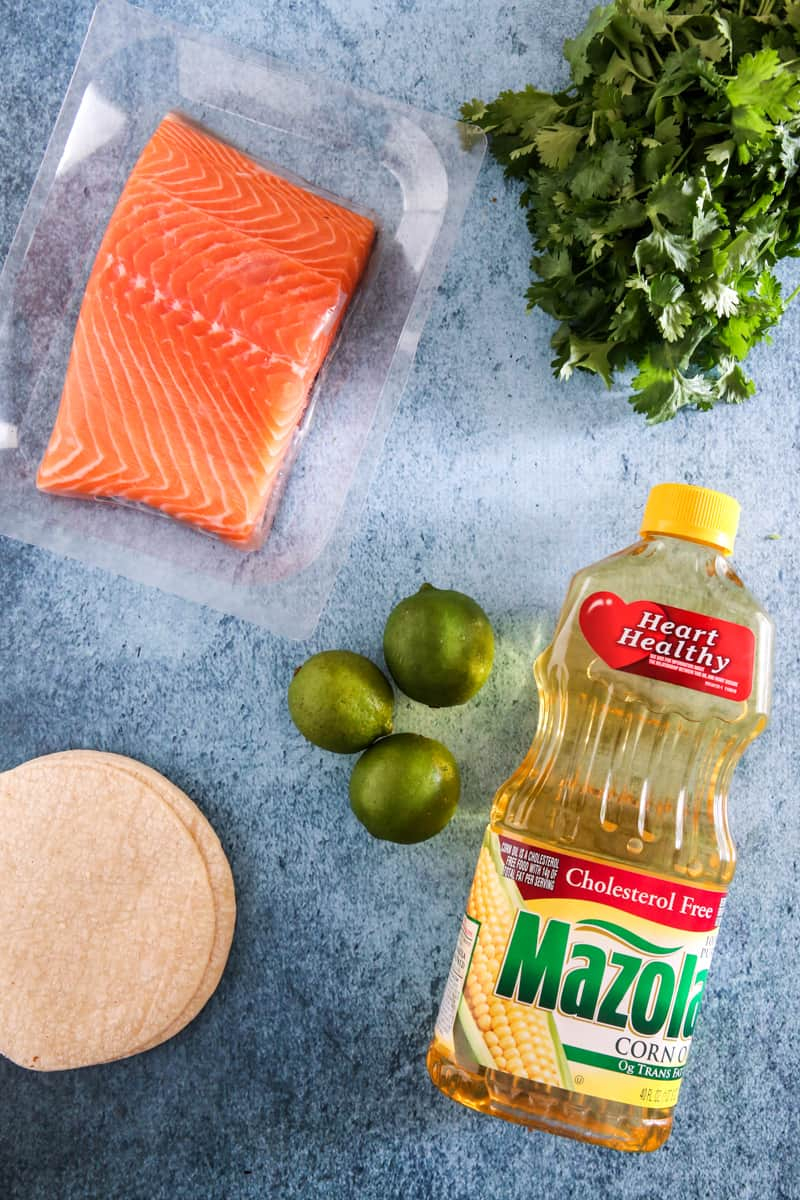 mazola corn oil with raw salmon