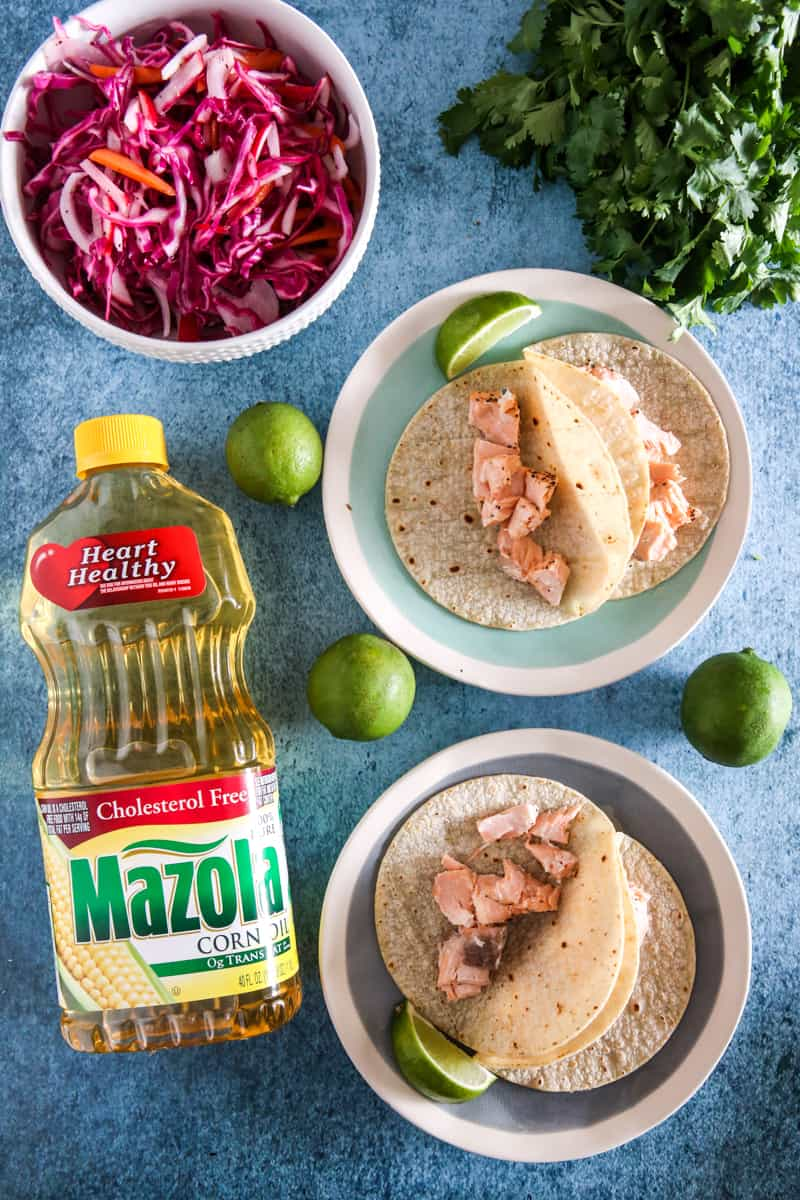 salmon cut up and put in tortillas with mazola corn oil
