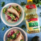 mazola corn oil with soft shell salmon tacos