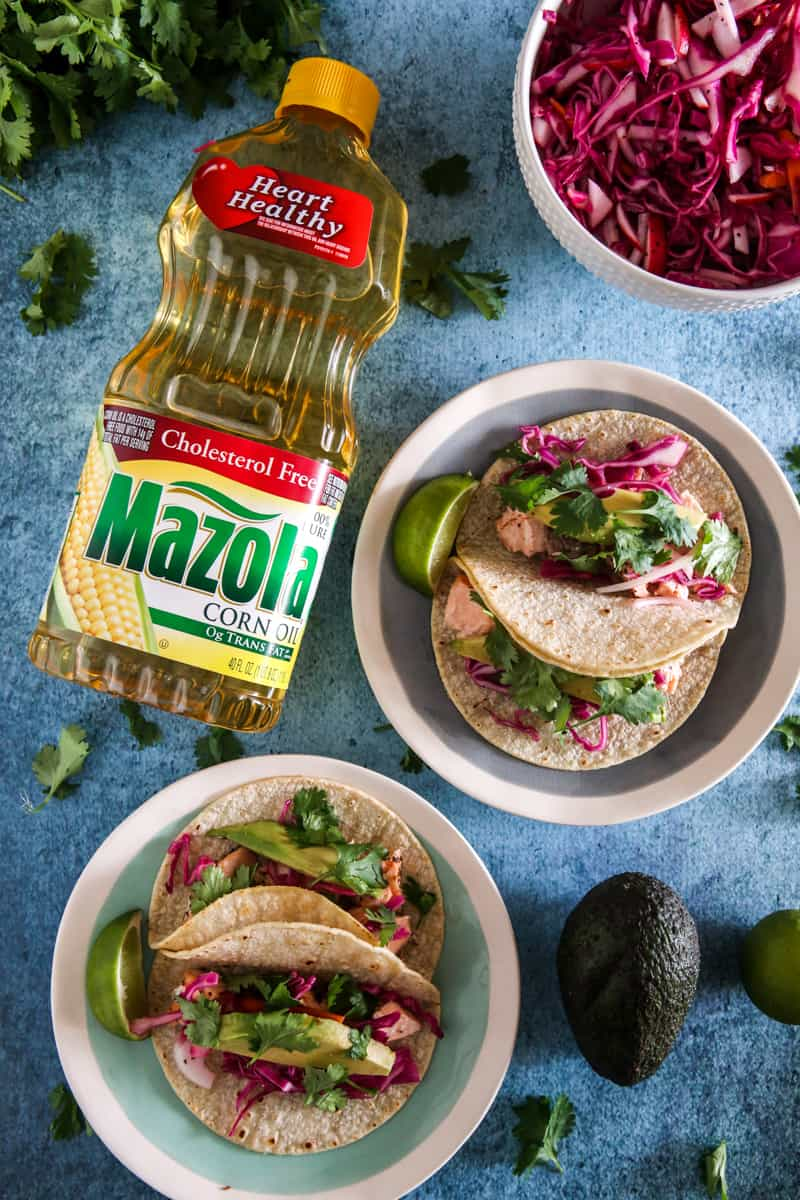 mazola corn oil next to salmon tacos