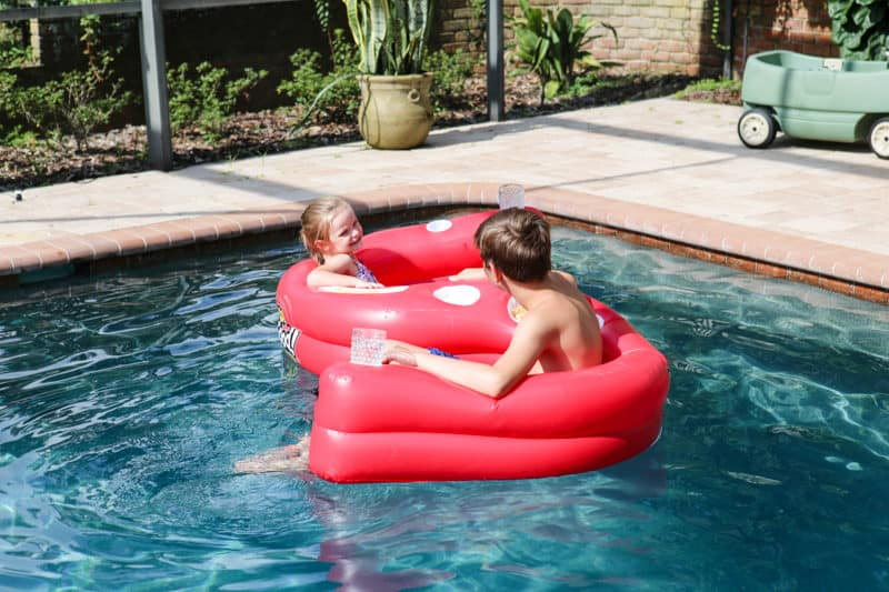 son and daughter in heluva good dip pool float