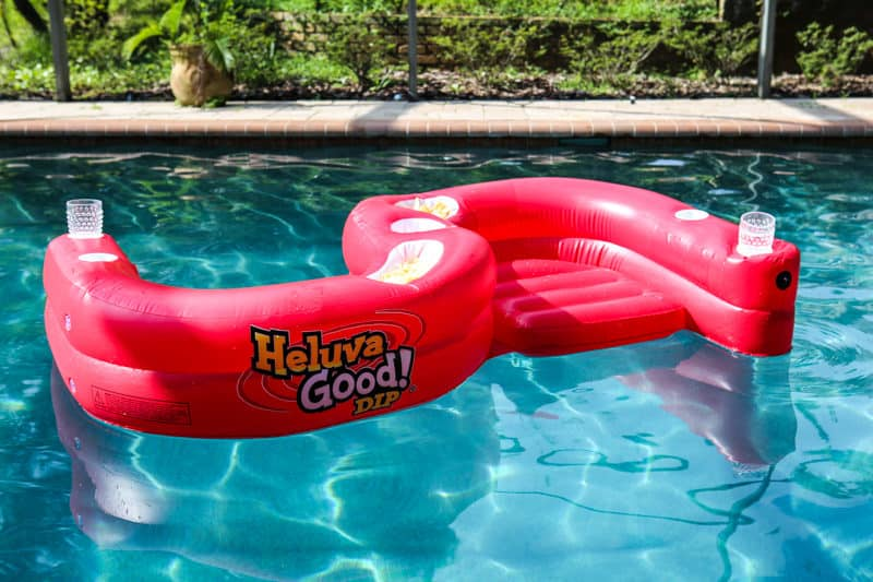 heluva good dip pool float with chips and drinks