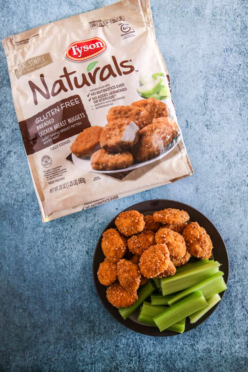 tyson naturals in bag and on plate with vegetables