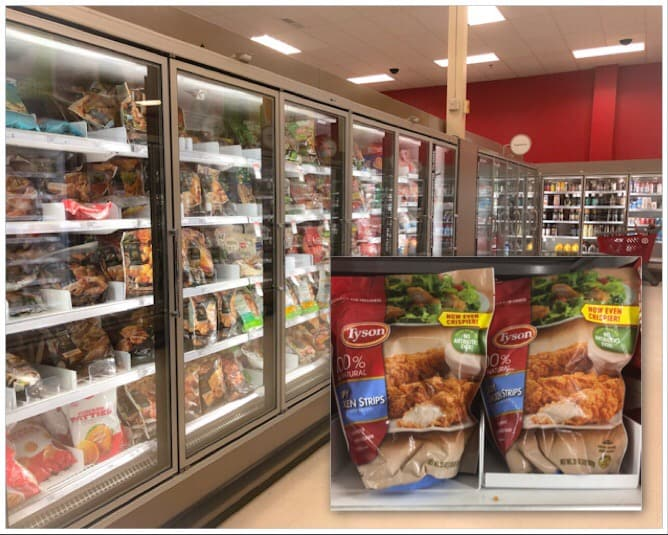 bags of tyson chicken in store aisle