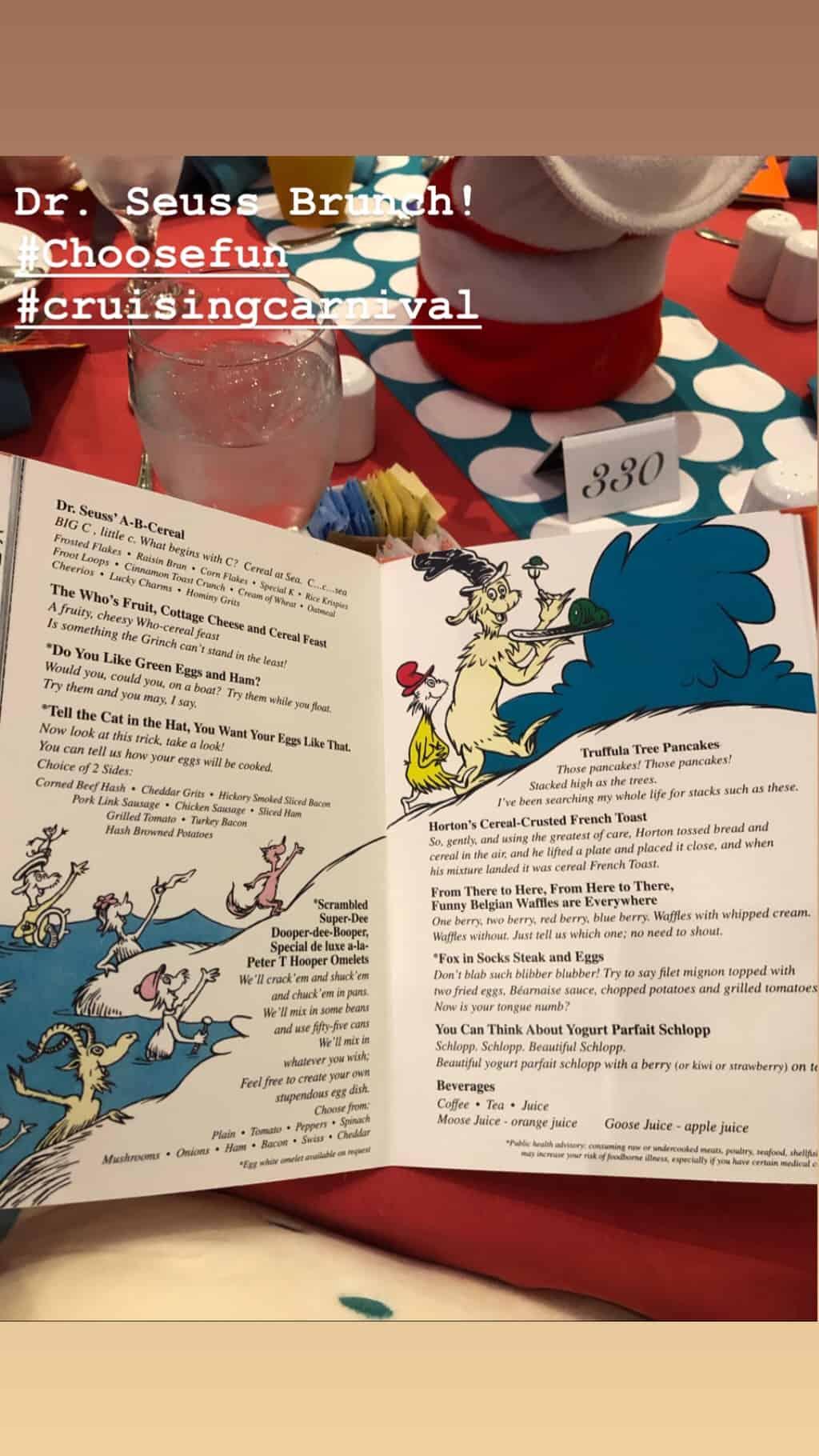 dr. suess brunch menu