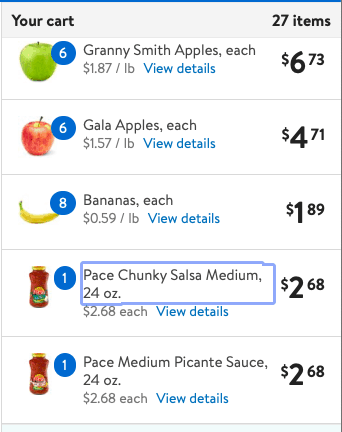 pace chunky salsa in virtual cart
