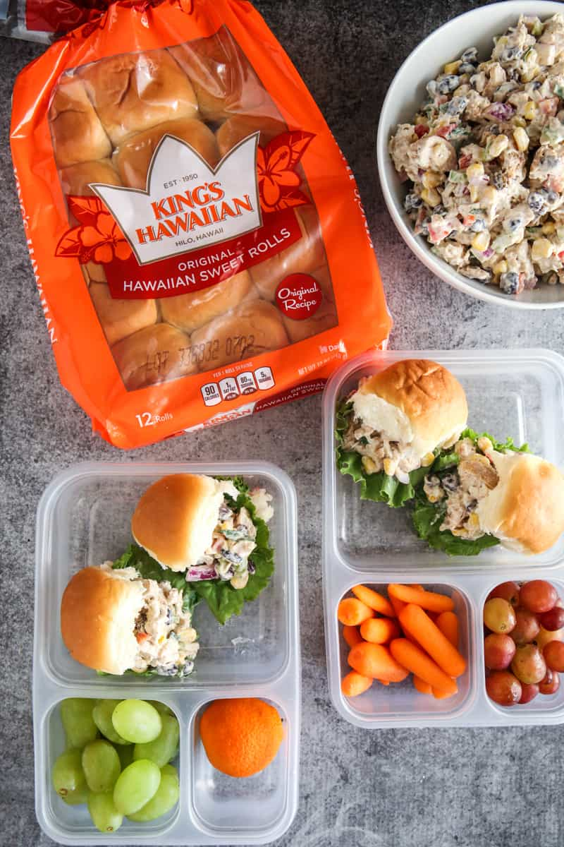 bag of king's hawaiian bread with sliders in lunch boxes