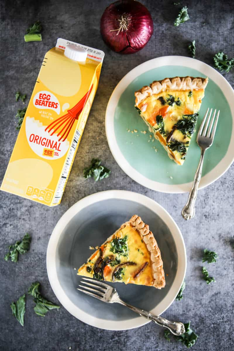 two egg quiches with carton of egg beaters