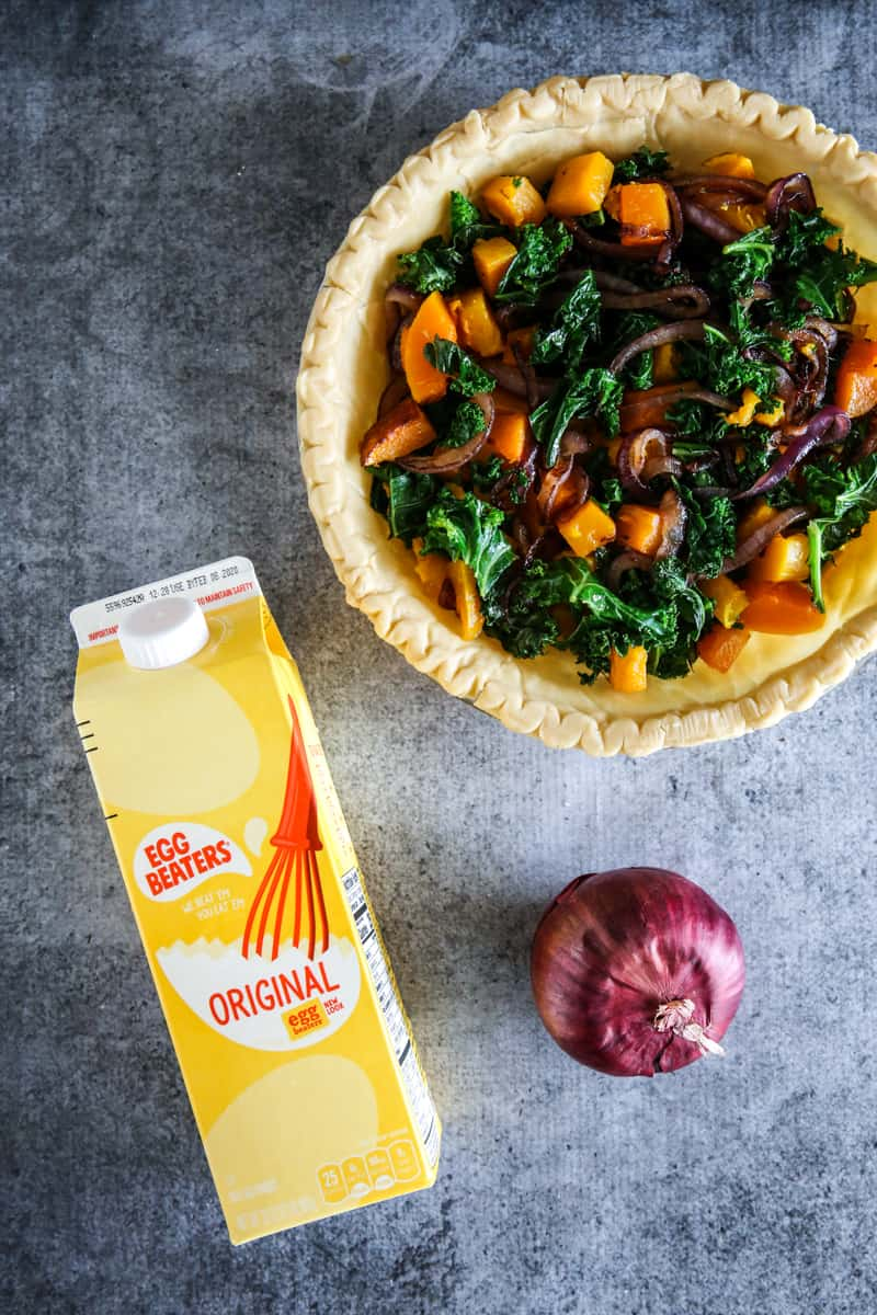 butternut squash quiche with carton of egg beaters and red onion