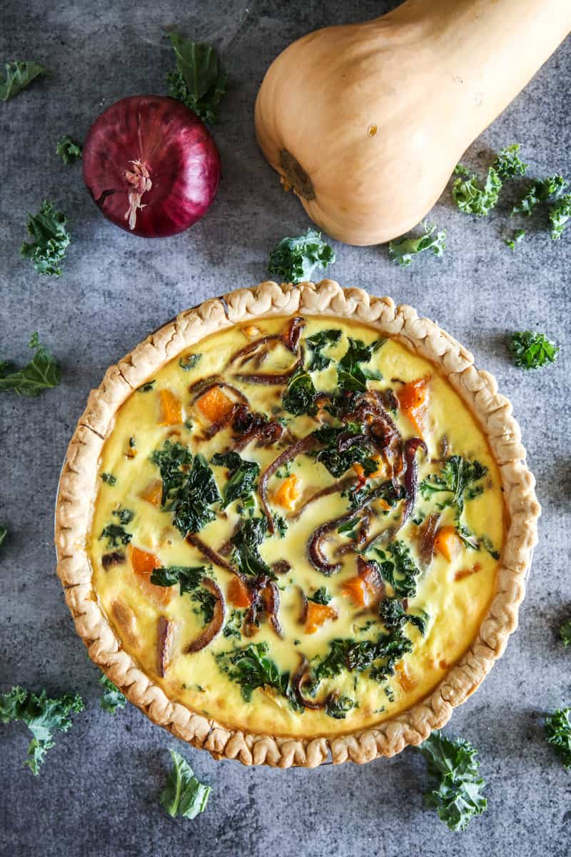 butternut squash quiche with squash and red onion, no egg beaters carton