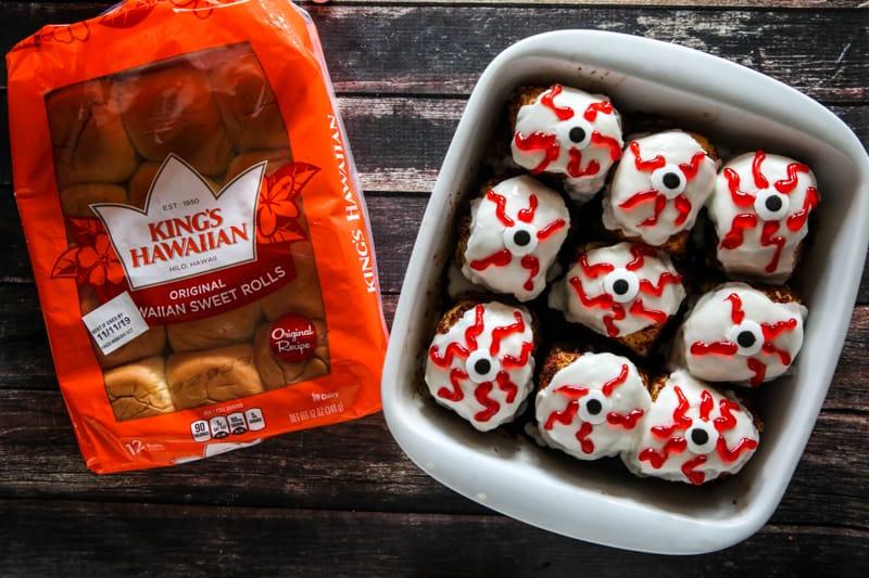 nine monster eye rolls and bag of king's hawaiian rolls