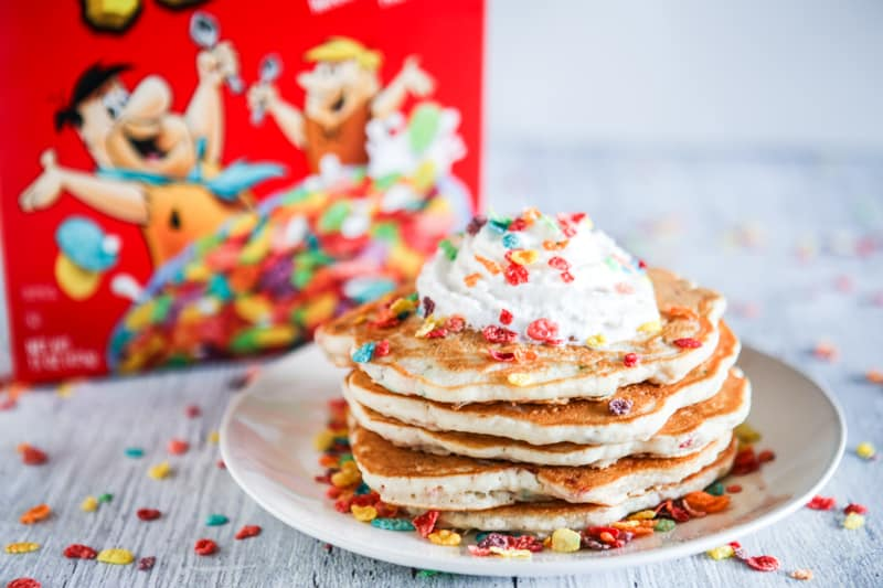 close up fruity pebble rainbow pancakes