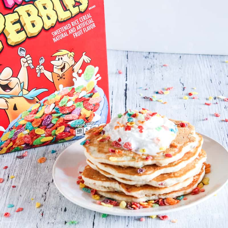 rainbow fruity pebbles pancake recipe