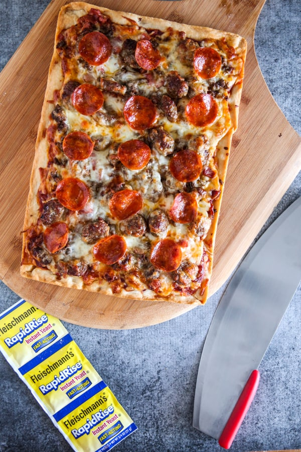 finished Detroit meat lover's pizza recipe before cutting