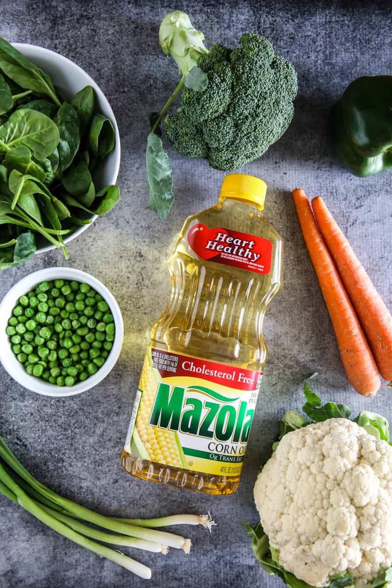 mazola corn oil and fresh vegetables