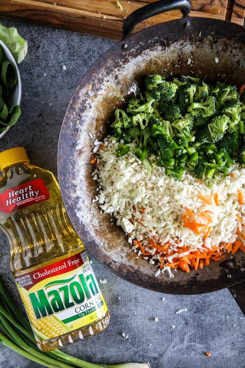 fresh vegetables in old wok