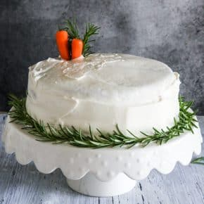 carrot cake with carrot garnish