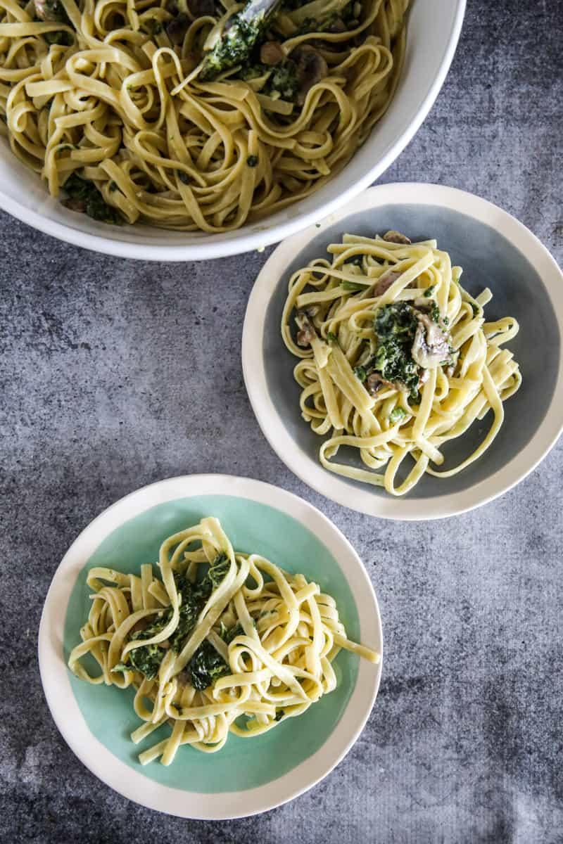 Spinach Mushroom Fettuccine Alfredo2 plates